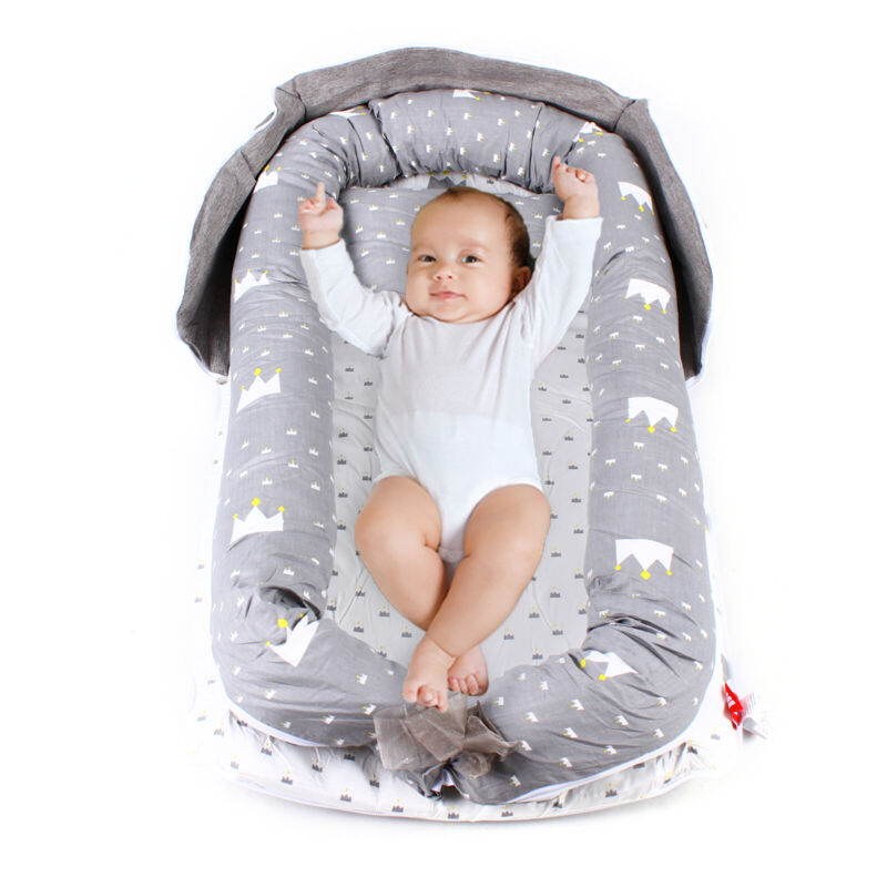 Baby Lounger Nest Bed Set Portable+Pillow Fence Soft Cotton for Newborn Baby US