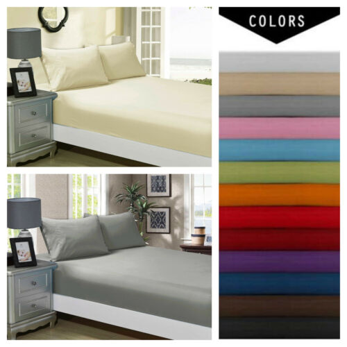 Fitted/Flat 100%Egyptian 1900 Count Deep Pocket Wrinkle Free Soft Bed Top Sheets