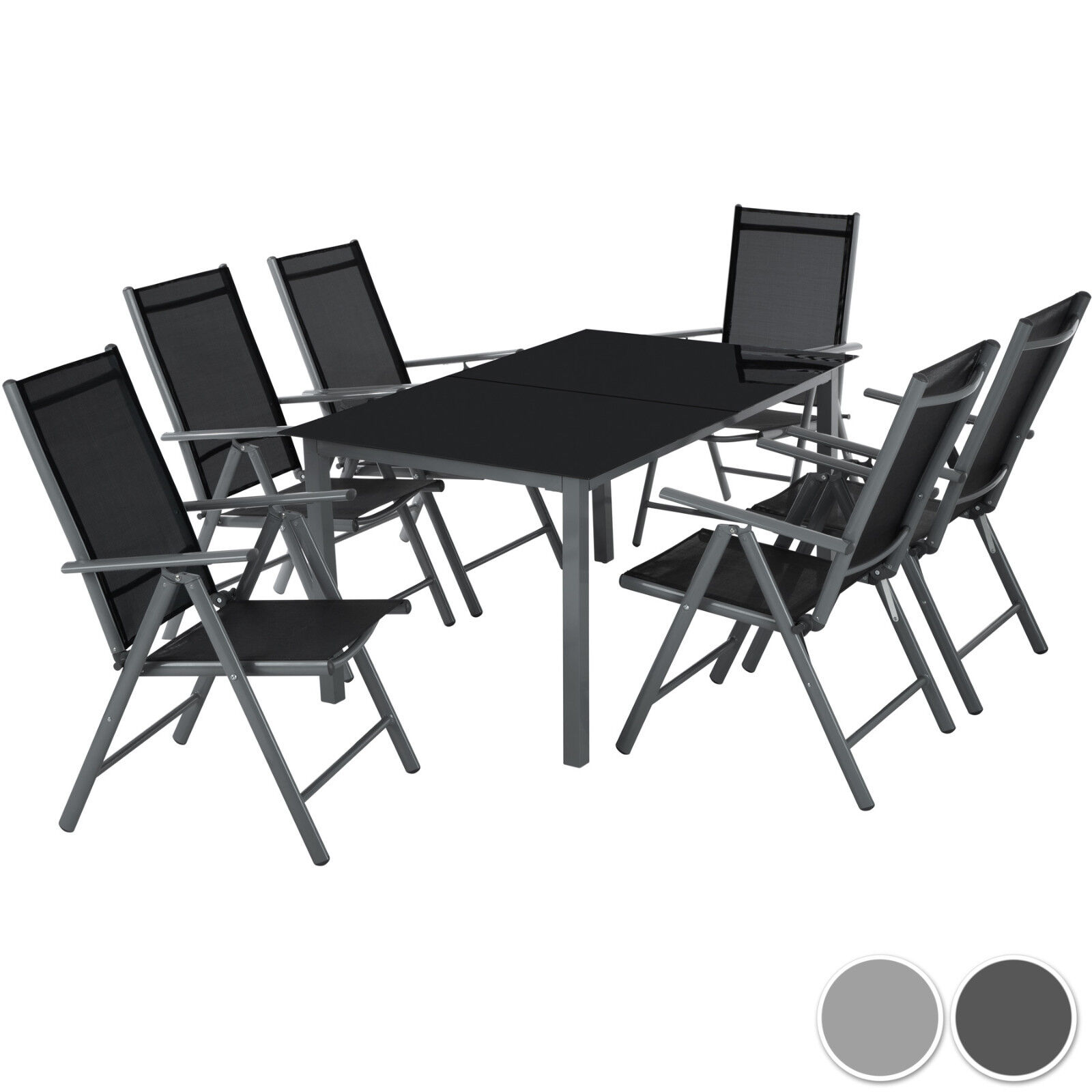 Garden Furniture - Aluminium garden furniture set 6+1  table and chairs dining suite foldig glass
