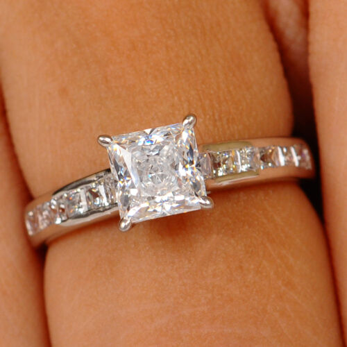 2.20 Carat Princess Shape Solitaire Engagement Ring In Finest 14kt White Gold