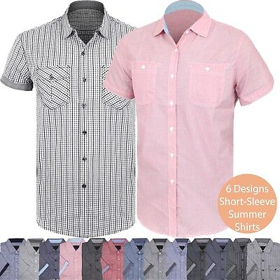 Mens BUTTON DOWN SHORT SLEEVE Tee Western T Shirts Summer Casual Top