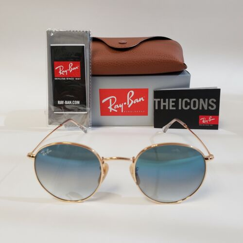 Ray-Ban Sunglasses Round RB3447 Gold Frame Blue Gradient Lenses. Fast Shipping