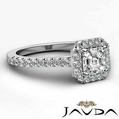 Asscher Diamond Engagement GIA H VS2 Shared Prong Set Ring 18k Yellow Gold 1Ct 9