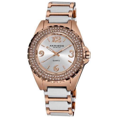 Women\s Akribos XXIV AK514WTR Quartz Crystal Bezel White Ceramic Bracelet Watch