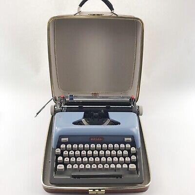 Vintage Royal Typewriter Futura 800 Blue Portable Manual Case Mid Century Modern