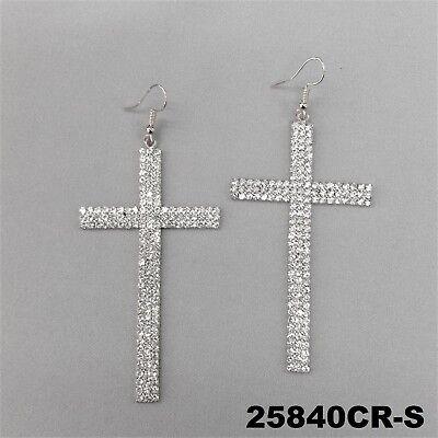 Large Rhinestone Cross (Large Religious Cross Clear Rhinestone Drop Dangle Silver Finish Hook Earrings  )