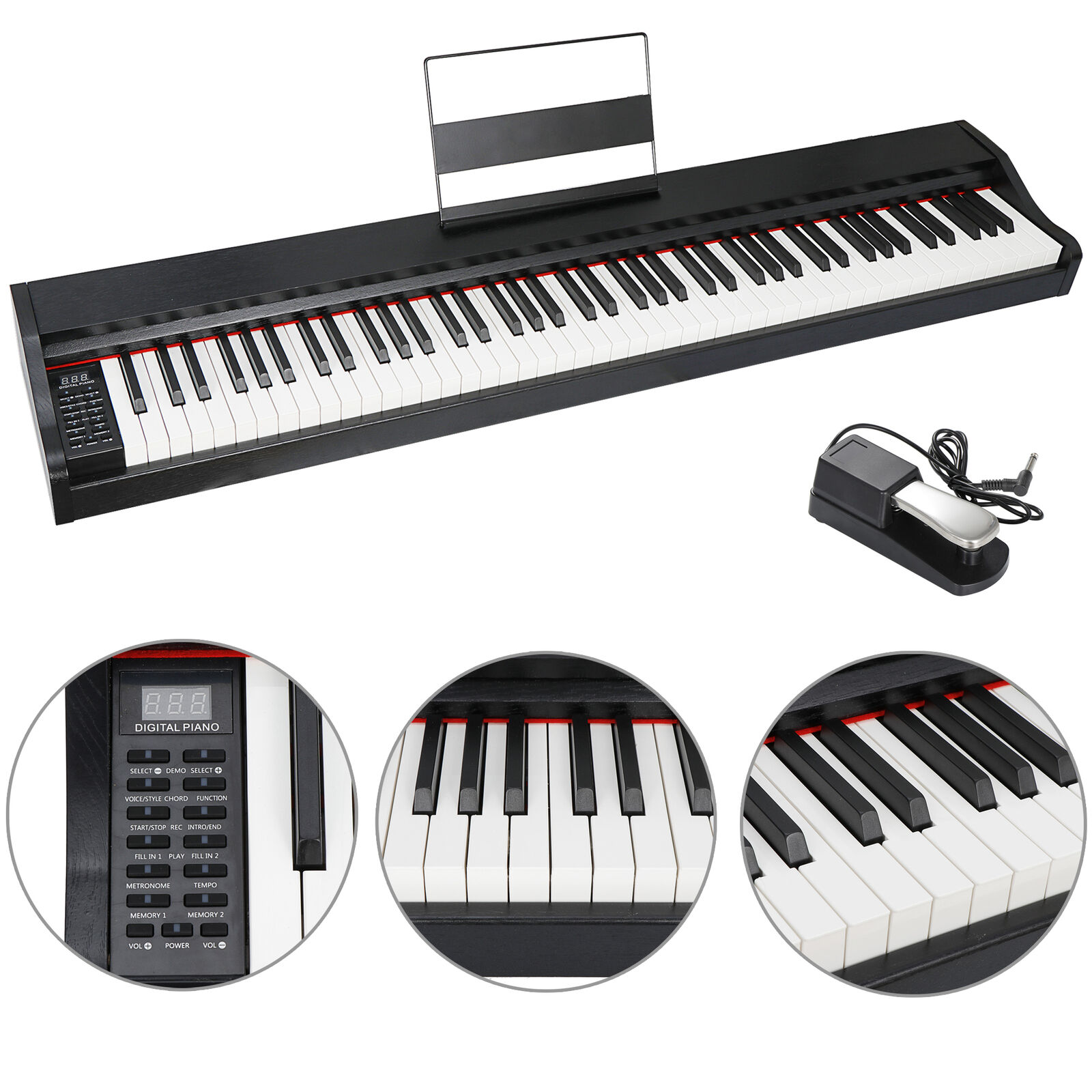 88 Key Electric Piano with Full Size Semi Weighted Keys Power Supply Speakers Electronic Keyboards