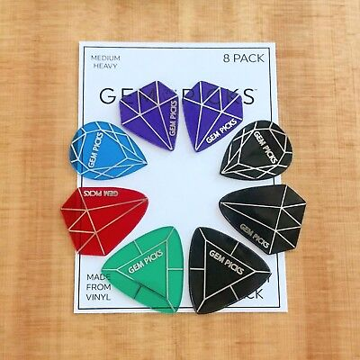 Gems Variety Pack - Gem Picks 8 Pack Variety Pack Vinyl Guitar Picks. All Models & Gauges!