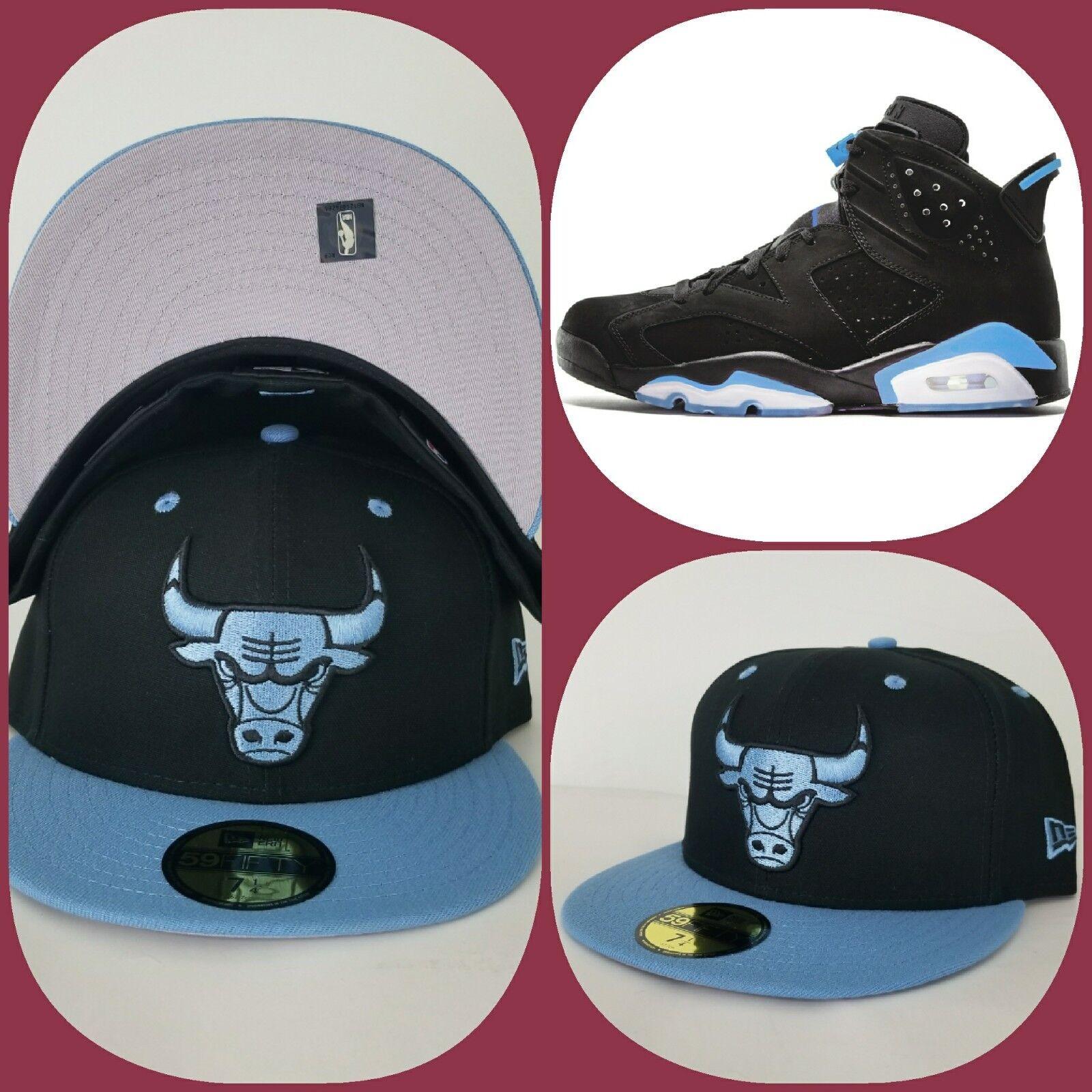 88b422d0780 Details about New Era Chicago Bulls Black   University Blue fitted hat  Jordan 6 Retro UNC