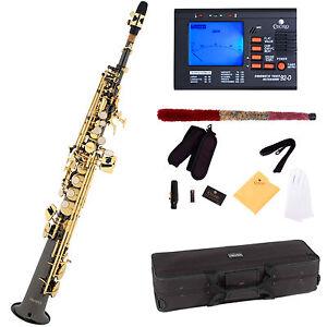 Mendini-Straight-Bb-Soprano-Saxophone-Black-Nickel-Body-Gold-Key-Tuner-MSS-BNG