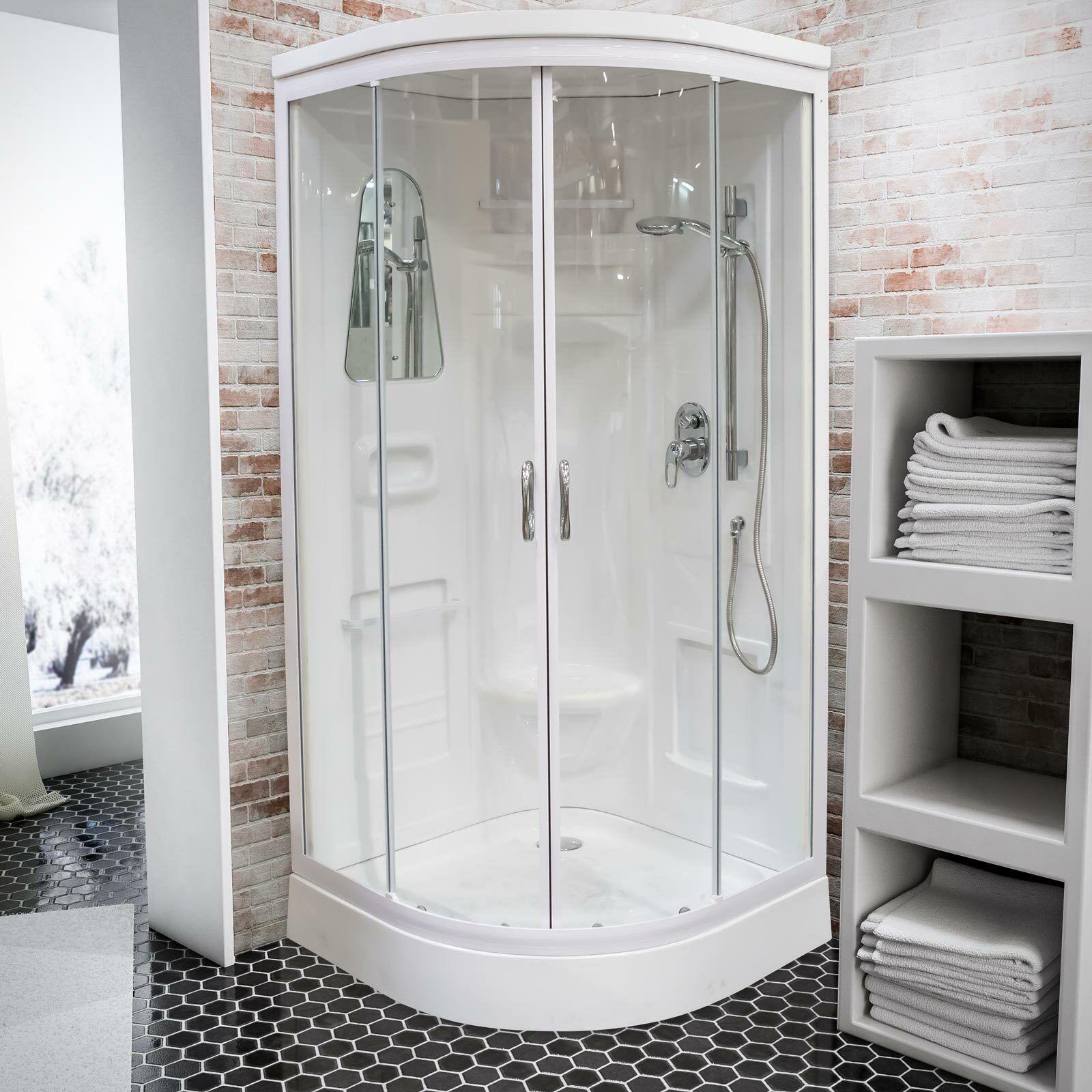 Komplettdusche Helgoland Fertigdusche Duschtempel Schulte 92x92 cm Glas weiß