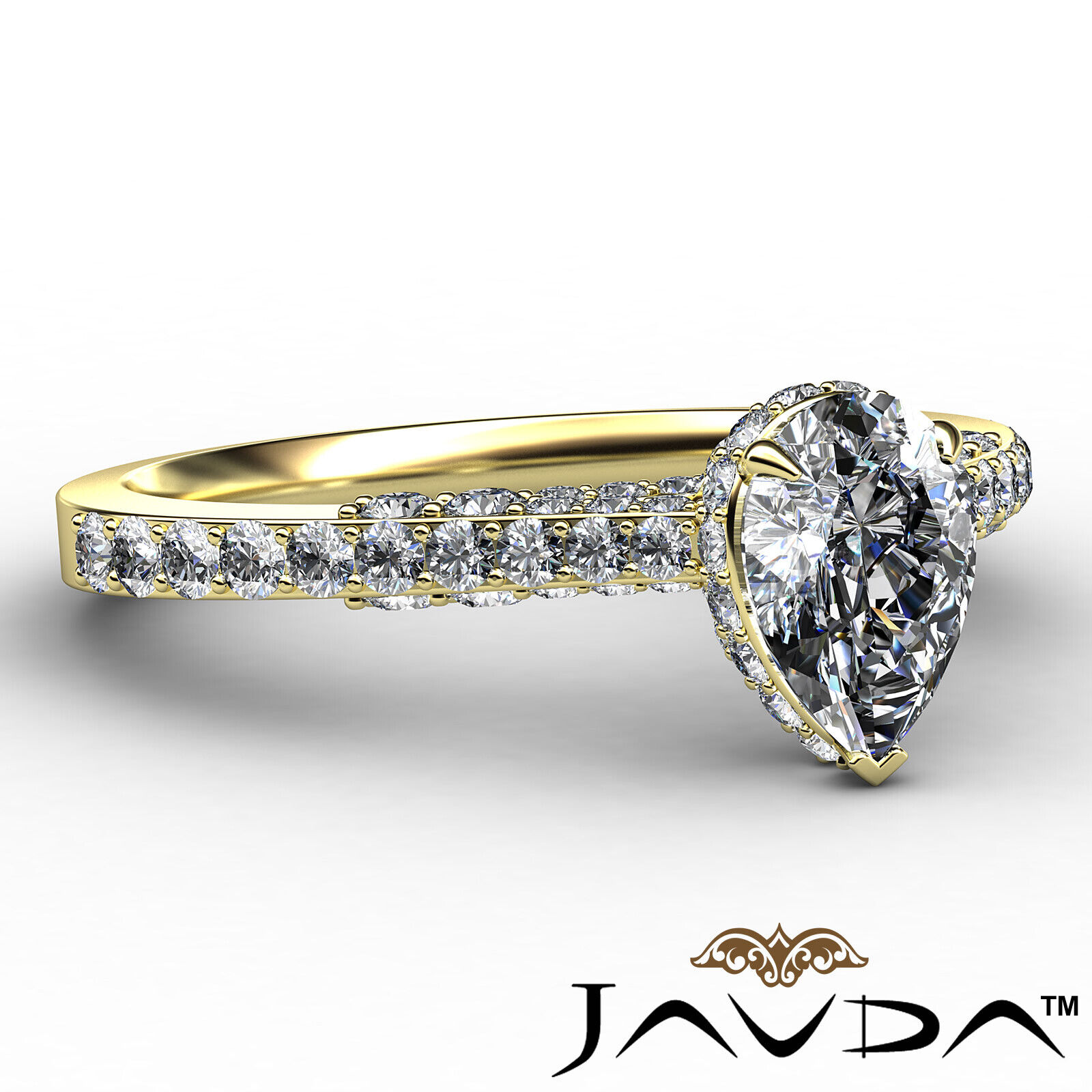 Pear Diamond Engagement Pave Ring GIA Certified H Color & VS2 clarity 1.06 ctw 7
