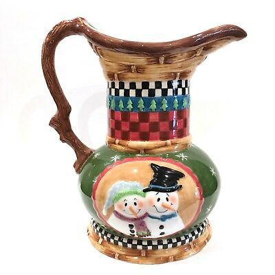 "Peggy Fairfax Herrick Large Mr & Mrs Snowman Pitcher 11"" House Of Hatten"