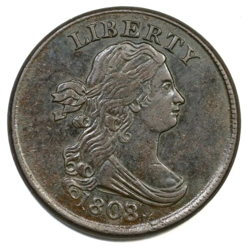 1808/7 C-2 Draped Bust Half Cent Coin 1/2c
