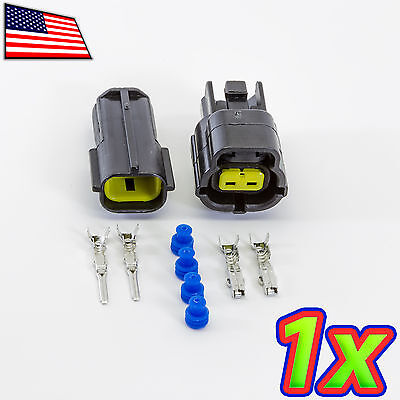 1x Denso 1x2p 2 Pin Waterproof 16-20awg Rugged Automotive Connector Ip67