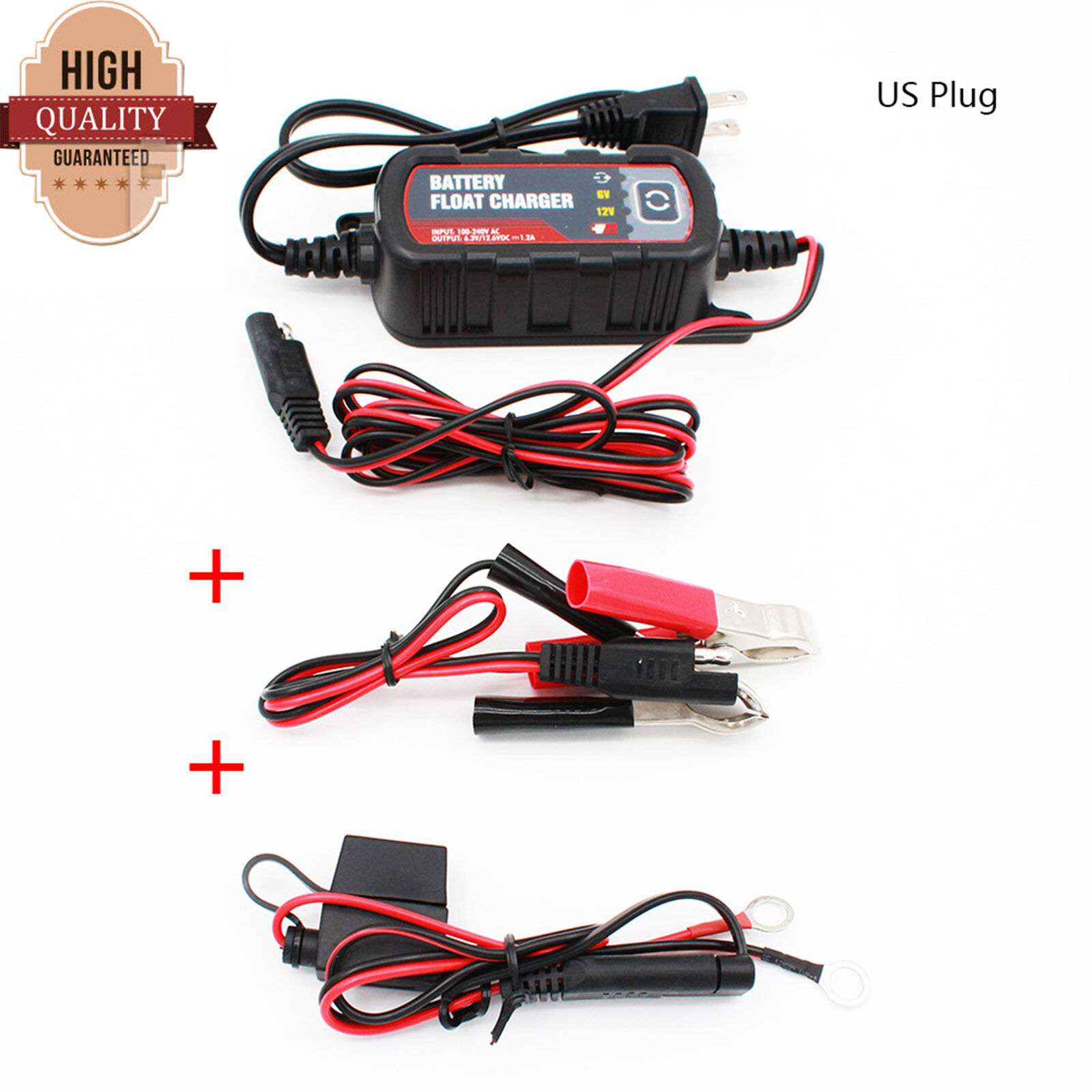 6V/&12V Lead Acid Battery Float Charger 1.2A Maintainer For Car Motorcyle RV ATV
