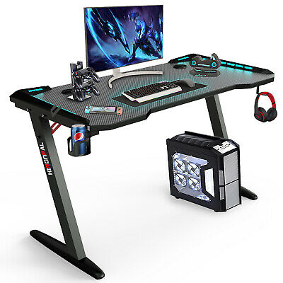 Z-shaped Computer Gaming Desk W Rgb Led Lights Mouse Padhome Office Table New