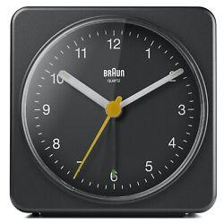 Braun BN-BC03B Large Black Square Quartz Alarm Classic Travel Clock