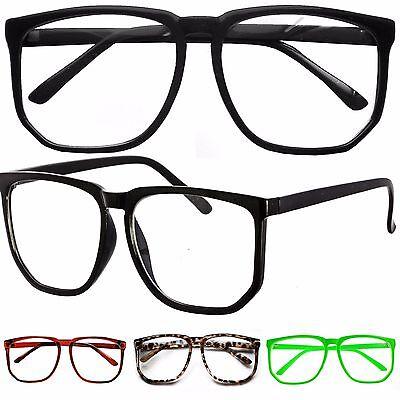 ß Retro Geek Nerd Quadrat Klarglas Brille Party Kostüm (Nerd Geek Kostüme)