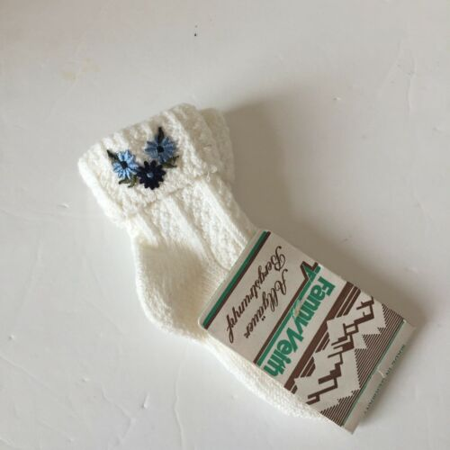 Fanny Veith vintage made in germany kids knit socks floral appliqué white blue