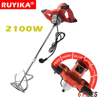 RUYIKA 2100W Electric Plaster Paddle Mixer Mortar Cement Paint Stirrer Whisk 6SP