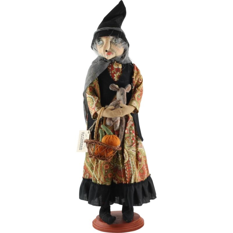 Gathered Traditions Margery Witch Joe Spencer Halloween Doll on Stand Decor