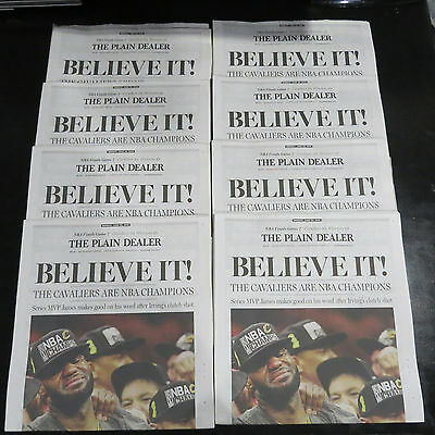 Cleveland Cavs Nba Championship 6 20 16 Plain Dealer Newspaper Lebron Believe It