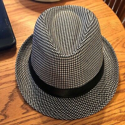 NEW MENS WHITE & BLACK W/ SILVER ACCENTS CHRISTMAS THEMED FEDORA HAT  ! - Christmas Fedora