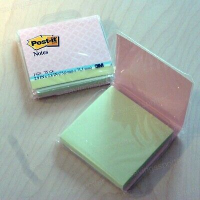 2 Packs Post-it Notes 3 X 3 Soft Prints Pink Cover Spring Green 75 Sheetsea 3m