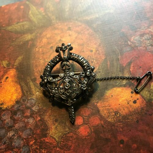 """Antique 850 Silver Germany Marcasite Pin """"Coat of Armor""""?"""