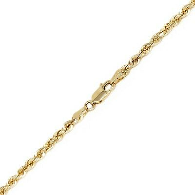 """14k Yellow Gold Solid Diamond Cut Rope Chain Necklace 22"""" 3mm 15.5 grams"""