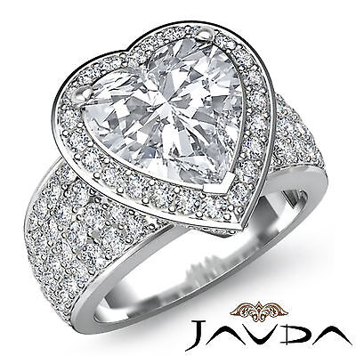 2.5 ct Halo Pave 14k White Gold Heart Diamond Engagement Bridal Ring I SI1 GIA