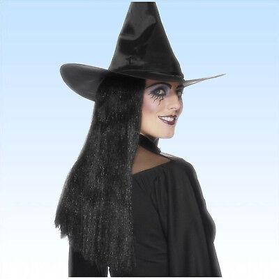 Hexenperücke schwarz lang Perücke für Kostüm Hexe o. Alltag lange glatte Haare