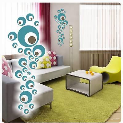 2 farb. Retro Dots Kreise Wandtattoo Wandaufkleber Aufkleber Lounge Bad W020