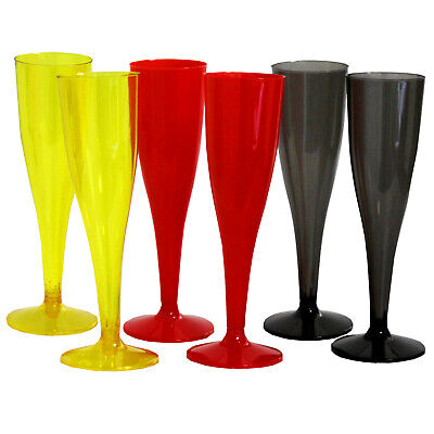 60x Sektglas Kunststoff Schwarz Rot Gelb   Plastikglas Champagnerglas 0,1L