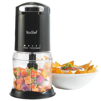 VonShef Food Chopper Processor Mini Electric Kitchen 250W Mixer Blender Black