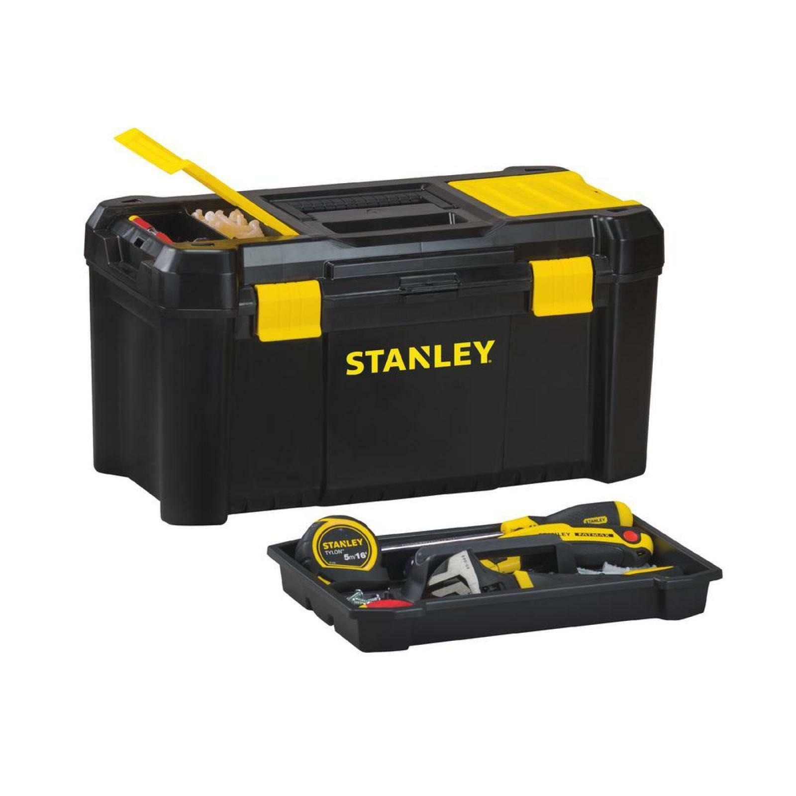 """Stanley 19/"""" Inch Lockable Compartmets Removable Tray Storage Organiser Tool Box"""