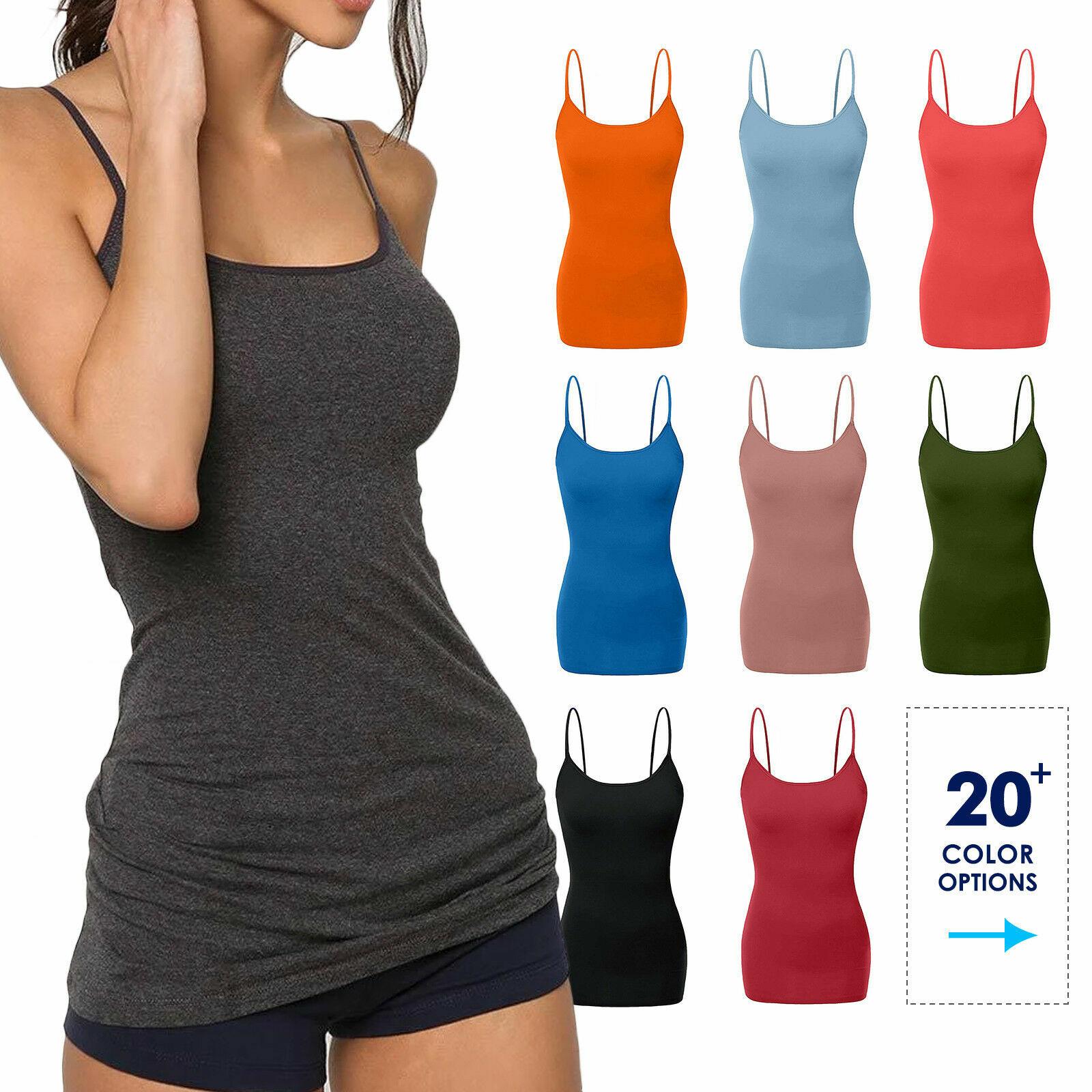 Women/'s Long Tunic Basic Layering Spaghetti Strap Tank Top Cotton Camisole Plain