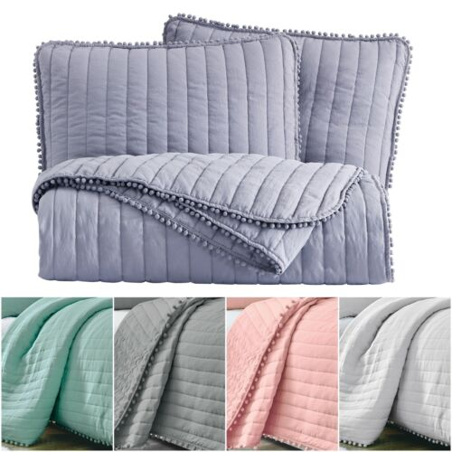 Chezmoi Collection Iris Pom Poms Fringe Channel Quilted Beds