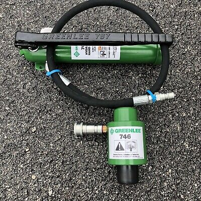 Greenlee 746 Slug-buster Ram And 767 Hand Pump Hydraulic Knockout Driver Set