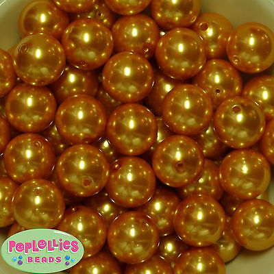 20mm Gold Acrylic Faux Pearl Bubblegum Beads 20pc gumball  Chunky  (Gold Gumballs)