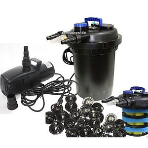 Combo 10000l koi pond pressure bio filter uv 3434gph for Best water pump for pond
