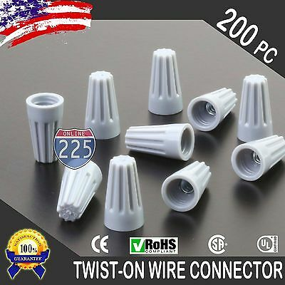 200 Grey Twist-on Wire Gard Connector Conical Nuts 22-16 Gauge Barrel Screw Us