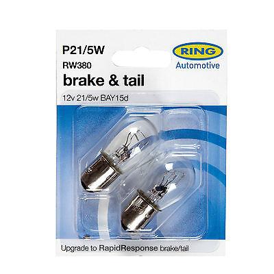 2 x Ring 380 P215W BAY15D Brake Stop  Tail Light Car Bulbs RW380 12v 215w