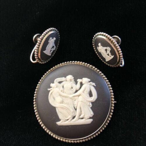 Vintage Wedgwood Black White Silver Cameo Pin Brooch Earrings Dancing Ladies