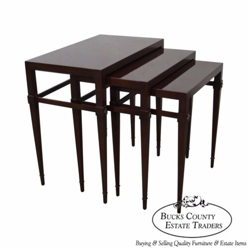 Tommi Parzinger 3 Nesting Mahogany Tables signed Charak Modern