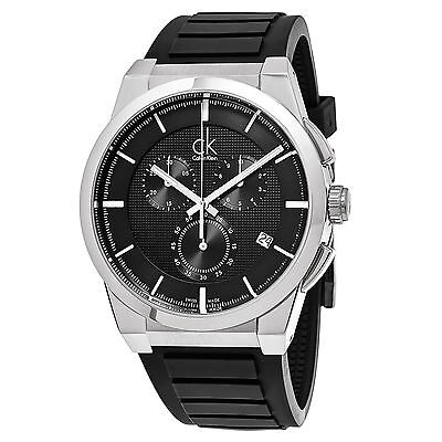 Calvin Klein Men's Dart Black Dial Rubber Strap Swiss Quartz Date Watch K2S371D1