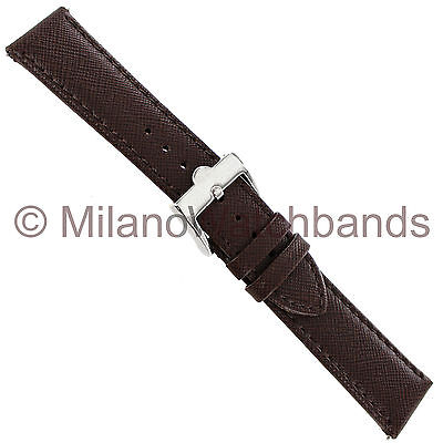 20mm Glam Rock Brown Saffiano Thick Genuine Leather Stitched Watch Band EZPINS