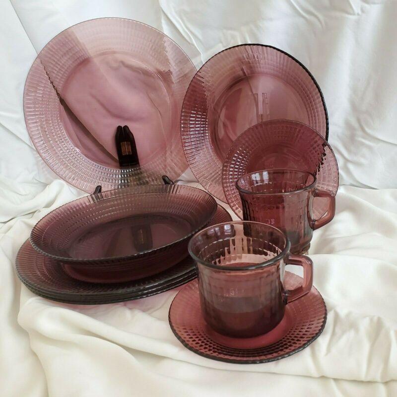 10 pieces Fortecrisa Mexico Purple Amethyst Glass cups, plates, bowls