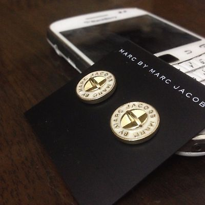 New Marc By Marc Jacobs Gold & White Logo Button Disc Stud Earrings White Gold Button Earrings